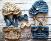 Vintage Twin Photography Prop Set in Oatmeal and Dusty Blue Available in 3 Sizes- MADE TO ORDER