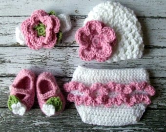 Emma Beanie, Headband, Diaper Cover and Macthing Booties Available in Newborn to 12 Months Size- MADE TO ORDER