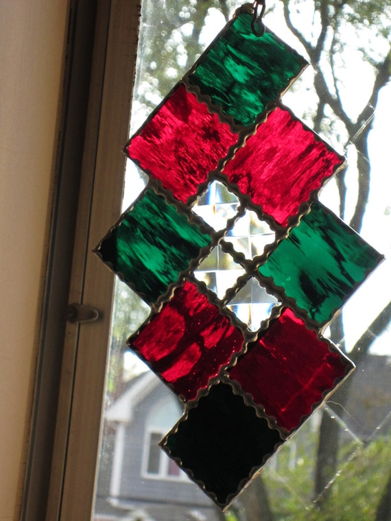 Green and Red Christmas Ornament Whimsical stained glass SUNcatcher