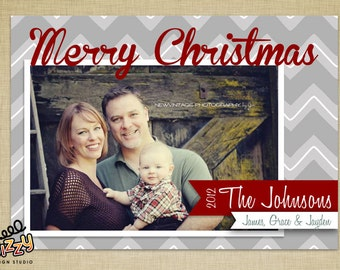 Modern Chevrons Holiday Photo Card - DIY PRINTABLE FILE
