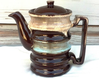 Vintage Drip Glazed Brown Teapot Modern Rustic Stoneware Red Clay