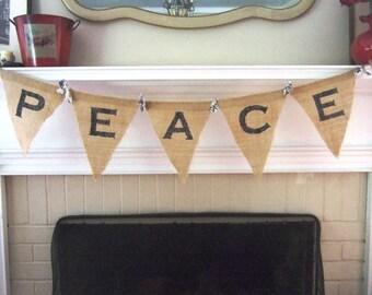 PEACE Burlap Banner / Bunting - Christmas - Shabby Chic