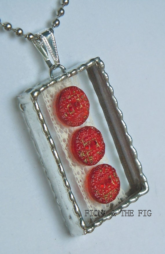 Fiona and The Fig Antique 3 Ruby Red Glass Buttons and Antique Lace Shadow Box  Necklace Pendant Charm