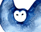 Large Night Owl winter blue 22 x 16 - bird art limited edition large giclee print