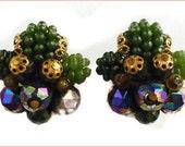 Vintage W. Germany Signed Dark Aurora Borealis Green Bead Cluster Earrings