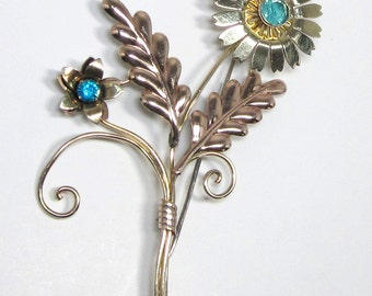 MINT Vintage Sterling and Gold Flower Pin, Van Dell Brooch, Sterling Silver and 12 KG