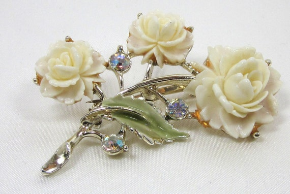 1920's Celluloid Ivory Rose Flower Pin, AB Rhinestones and Green Enamel, NICE