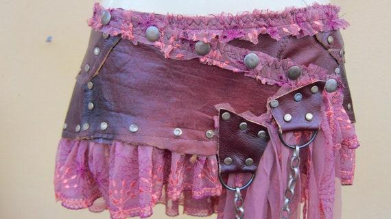 BURNING MAN..bohemian burnt tangerine leather mini skirt belt/tutu with stud detail....