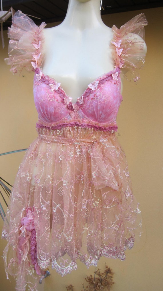 vintage inspired bustier dress with ruffles of lace,roses and butterflies.........