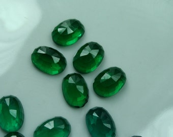 2 pcs 10x14 mm  green Faceted high dome 6,35 mm Glass Oval Cabochon