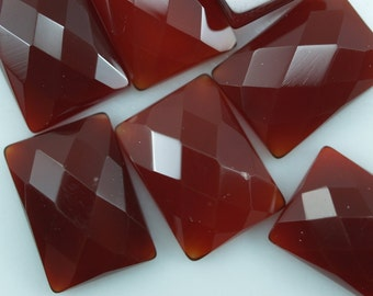 2 pcs Agate 10x14 mm rectangle faceted cabochons