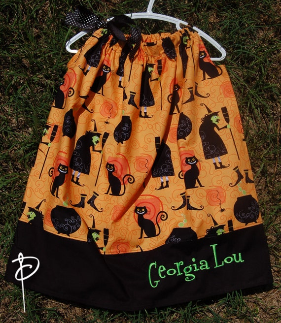 Witch & Kitty Cat Halloween Pillowcase with Monogrammed Name