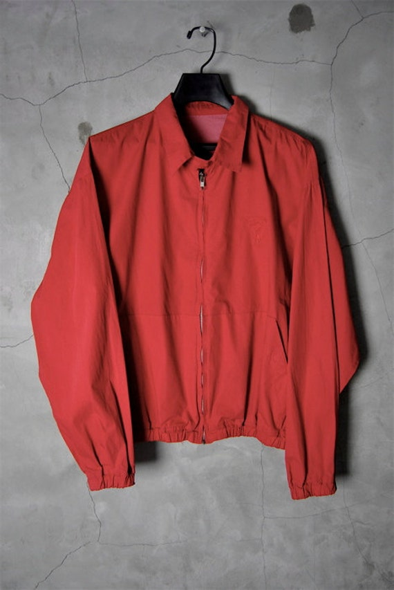 men's vintage, 1990's red LONGCHAMP windbreaker zip jacket, Large