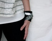 Upcycled Cuff Bracelet, Silver & Black Glam Rock, OOAK Fabric Cuff, Made From Men's Dress Shirt