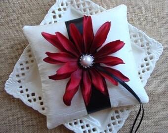 Wedding Ring Bearer Pillow - Deep Red Coneflower on Ivory Crinkled Tafetta