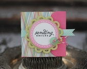 Sending Smiles - Lunchbox note - in pink, aqua, and green
