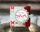 Hi There - Lunchbox note - butterfly background with aqua ribbon