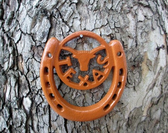 Cast Iron Texas Longhorn Horse Shoe, Orange , Rustic, Pink