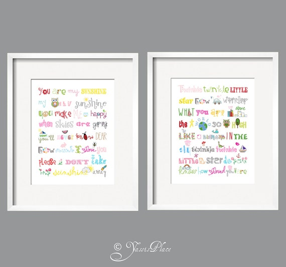 You Are My Sunshine and Twinkle Twinkle Little Star Wall Art Prints for girls room 8x10 Rainbow colors by Yassisplace