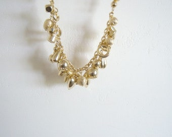 Vintage Gold Plastic Necklace Pierced Earrings Online Vintage, vintage clothing, jewelry