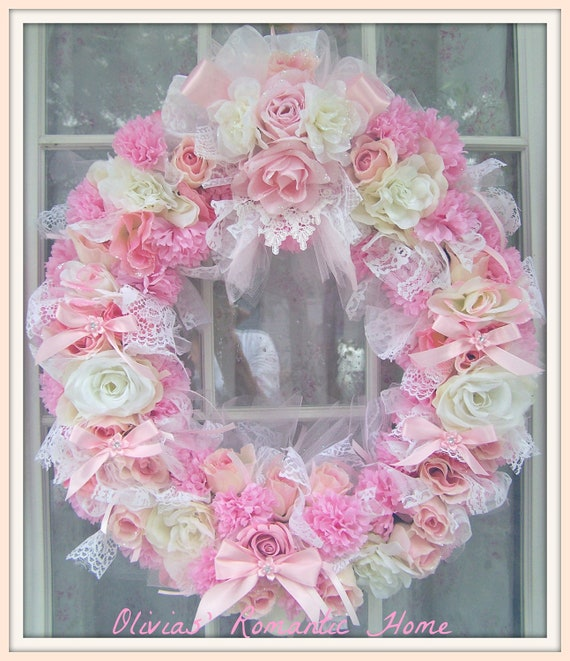 Reserved for Cindy  Shabby Chic Rose Pink White Princess Candy Christmas Fall Wreath Marie Antoinette Victorian Ornament  SCT