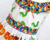Back to School Custom Hungry Caterpillar Ruffle Neck Dress - Available in Sizes 12 mo, 2T, 3T, 4, 5 , 6 and 7