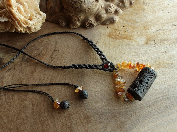 Volcano inspired amulet pendant - natural crystal pendant with Lava stone, Citrine and Garnet