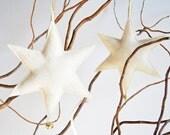 White Star Christmas Ornament/ Cream With Gold Jingle Bell/ Eco Felt / Handmade/ Ready to Ship
