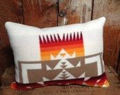 SALE Pendleton Pillow, Indian Blanket, Wool, Chief Joseph, Native American White