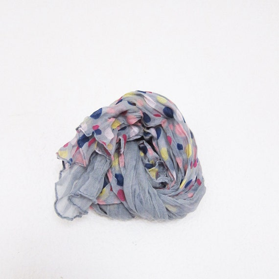 Polka Dot Scarf.. Grey Cotton Scarf..wrinkled Gauze Cotton Scaf for Woman , Men or Teen