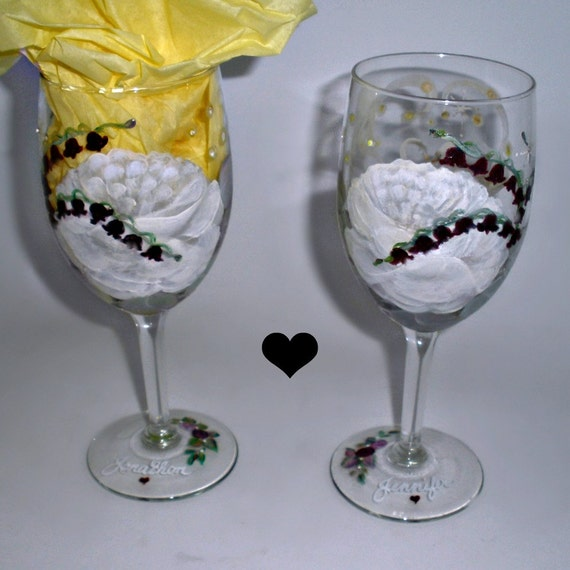 Made to Order -  Custom pair of Party Wine Glasses - Romantic Swans on the river, Roses, Lilies, glowing fireflies, stars and rhinestones