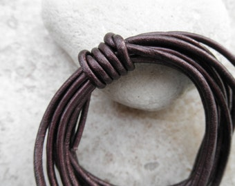 Metallic Marroon - 2mm Leather Cord - By the Yard