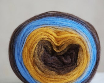 Self Striping Chunky Wool Pencil Roving, for Spinning, Felting or Knitting, Brown Mustard Yellow Blue