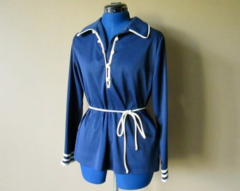 Long Sleeve Navy Blue & White Collared Shirt with matching belt, bust 41, waist 39