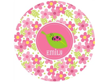 Personalized Girls Melamine Plate or Bowl- Ladybug Dinnerware
