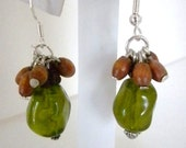 Green Bead with Brown, Wooden Beads, Dangle Earrings