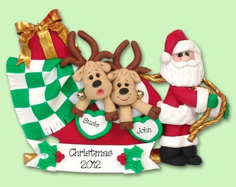 Santa & Reindeer Couple / Family of 2 HANDMADE POLYMER CLAY Personalized Christmas Ornament