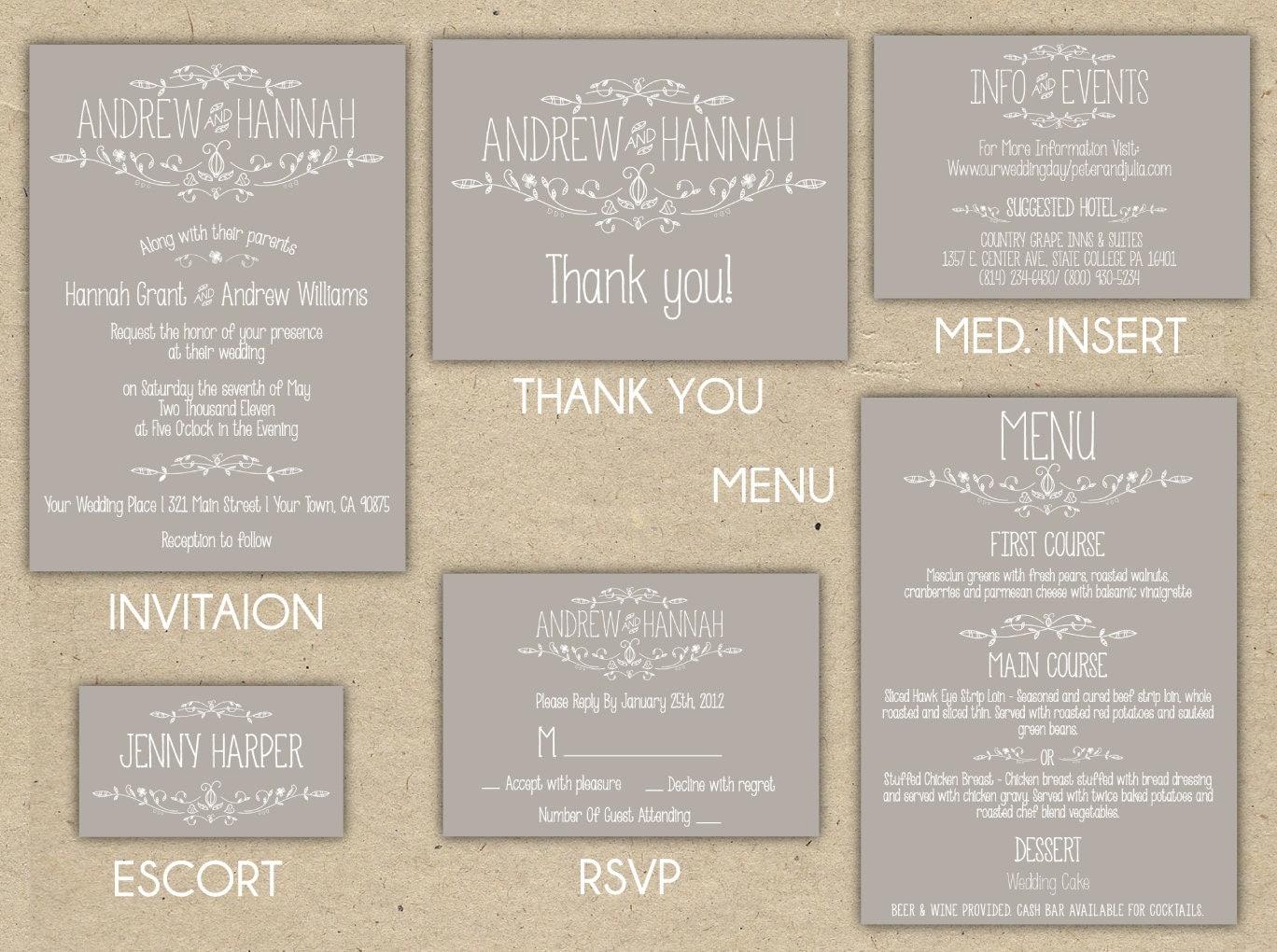 custom wedding map and direction invitation insert printable