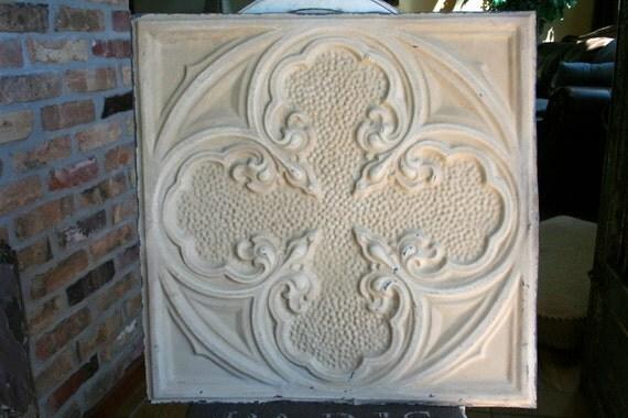 """Genuine Antique Ceiling Tile -- 20"""" x 20"""" -- Golden Tan Paint -- Beautiful Design"""