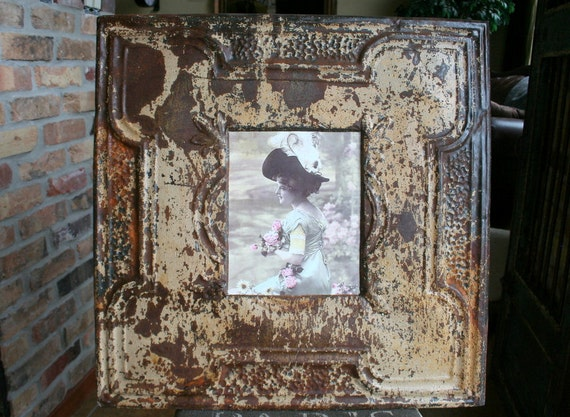 Genuine Antique Ceiling Tin Picture Frame -- 8x10 --  Beautiful Rusty patina