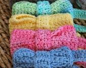 Crocheted Baby Bow Tie - 100% Cotton - CHOOSE COLOR  -  Sizes Newborn to 12 Years Available
