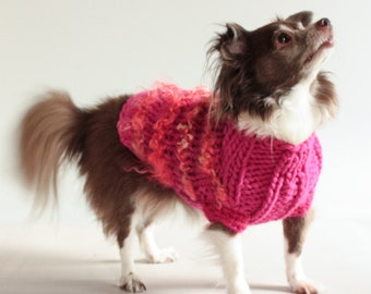 The BIG PINK for Small Dogs, Fuzzy stripes Sweater