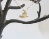 Hummingbird (necklace) - Tiny 14k gold plated bird on dainty 14k Gold-Filled chain