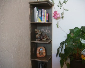 60 in tall distressed corner shelf ,bookcase, display, shabby worn look