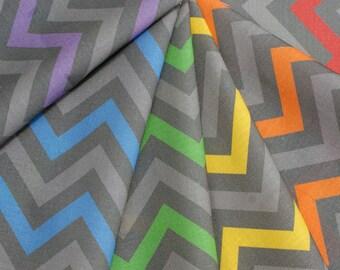 Rainbow Robot Chevron Zig Zag Fat Quarter Fabric