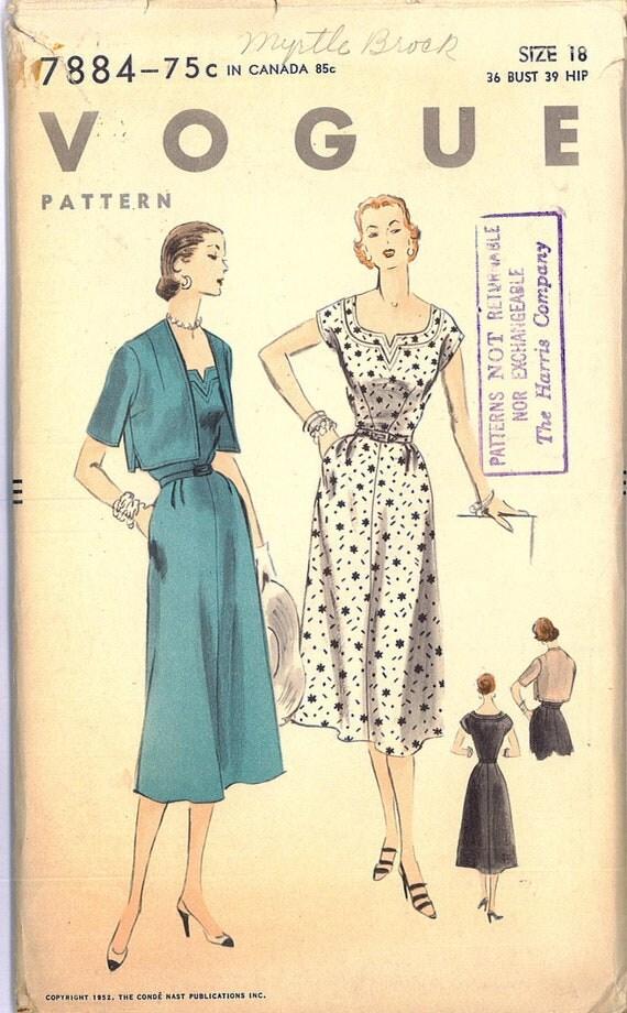Vintage 1950s Rockabilly Dress and Bolero Set FACTORY FOLDED Sewing Pattern Vogue 7884 Bust 36
