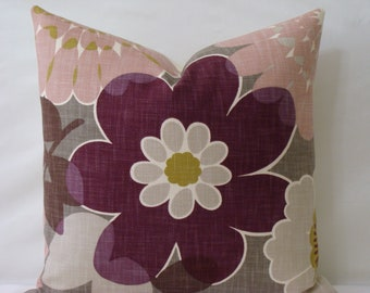 """SALE - SET Of TWO - Basket Weave Floral 18"""" x 18"""" or 20"""" x 20"""" - Magenta,Brown,Grey,Chartreuse and Mauve - Decorative Designer Pillow Covers"""