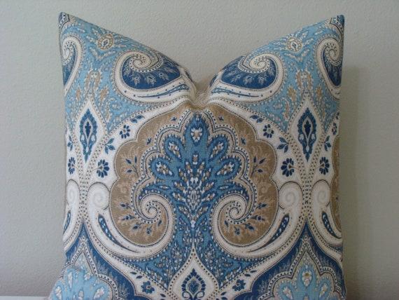 """SET of TWO - Kravet Latika Delta Ikat print - 20"""" x 20"""" Decorative Designer Pillow Covers - Blue, Khaki, Tan and Ivory"""