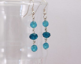Blue and Teal Dangle Earrings