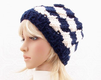Hand knit hat, beanie - navy blue, cream - women's winter hat, winter fashion, winter accessories by Sandy Coastal Designs - ready to ship